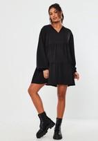 Missguided Black Tie Neck Maternity Smock Dress