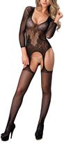 Leg Avenue Black Floral Lace Suspender Body Stocking