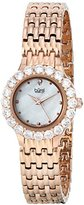 Burgi Women's BUR107RG Crystal Accented Rose Gold Swiss Quartz Watch with White Mother of Pearl Dial and Rose Gold Bracelet
