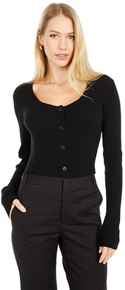 Vince Square Neck Cardigan (Black) Women's Clothing