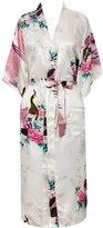 FAYBOX Women Long Kimono Satin Robe With Peacock Flower Nightgown Sleepwear S