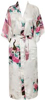 FAYBOX Women Long Kimono Satin Robe With Peacock Flower Nightgown Sleepwear XL