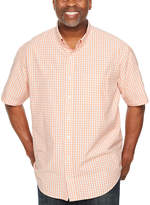Izod Breeze Shirt Short Sleeve Checked Button-Front Shirt-Big and Tall