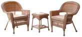 Wicker Chair and End Table Set (3 PC)