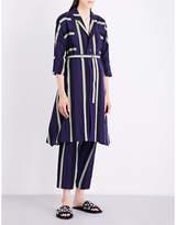 Issey Miyake Ladies Navy X Yellow Lightweight Striped Linen-Blend Coat