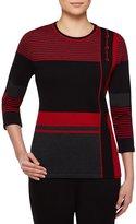 Allison Daley Petites 3/4 Sleeve Stripe Colorblock Sweater Pullover