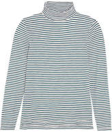 Madewell Whisper Striped Cotton-jersey Turtleneck Top - Blue