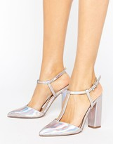 Little Mistress Metallic Pointed T-Bar Heeled Shoes With Block Heel