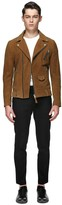 Mackage Fenton-Su Moto Suede Leather Jacket In Cognac
