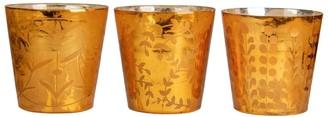 "Overstock Set of 3 Orange Glass Votive Candle Holders 4"""