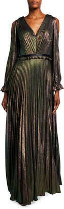 Marchesa Notte Metallic Lame V-Neck Long-Sleeve Pleated A-Line Gown