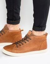 Aldo Agroiwien Mid Plimsolls In Tan Leather