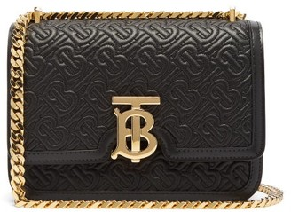 Burberry Tb Small Monogram-matelasse Leather Cross-body Bag - Black