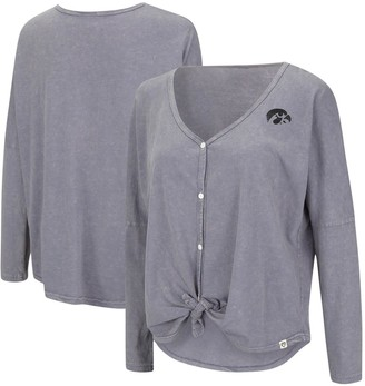 Colosseum Women's Gray Iowa Hawkeyes Charity Button-Up Tie-Front Long Sleeve Top