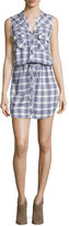 Joie Noraha Plaid Sleeveless Shirtdress, Porcelain/Blue