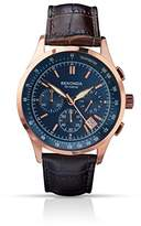 Sekonda Men's Quartz Watch with Blue Dial Chronograph Display and Brown Leather Strap 1157.27