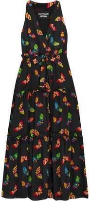 Moschino Ruffle-trimmed Printed Silk Crepe De Chine Midi Dress
