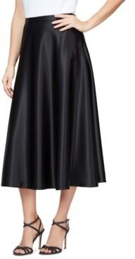 Alex Evenings Satin Midi Skirt