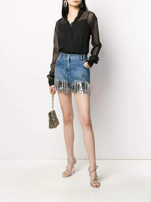 Balmain silver fringed denim mini skirt