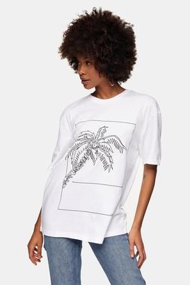 Topman Womens Palm Sketch Print T-Shirt In White - White