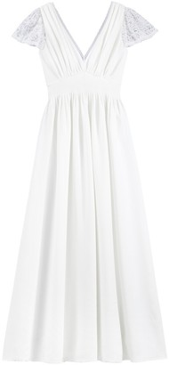 La Redoute Collections Long Wedding Dress with Short Lace Sleeves