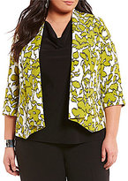 Kasper Plus Folded Collar Open Front Floral Print Crepe Jacket