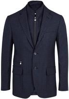 Corneliani Navy Checked Wool Blend Blazer