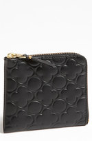 Comme des Garcons Women's Small Embossed Half Zip French Wallet - Black