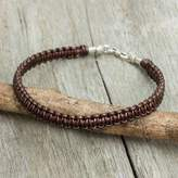 Men's Bracelet Handmade in Brown Leather and Silver, 'Essence of Style in Brown'