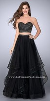 La Femme Square Beaded Strapless Sweetheart Two Piece Tiered Prom Dress