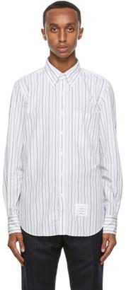 Thom Browne Grey and White Poplin Stripe Shirt