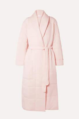 Skin - Sierra Quilted Cotton-jersey Robe - Pastel pink