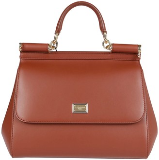 Dolce & Gabbana Cognac Leather Medium Sicily Bag