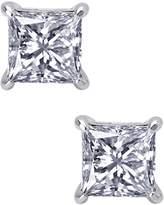 Lafonn Platinum Plated Sterling Silver 5mm Simulated Diamonds Princess Cut Stud Earrings