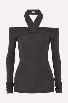 Brunello Cucinelli Twisted Off-the-shoulder Stretch-wool Sweater - Dark gray