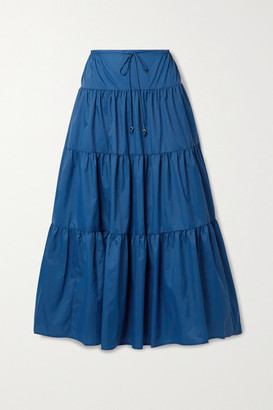 STAUD Lucca Tiered Recycled Shell Maxi Skirt - Blue