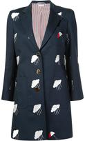 Thom Browne embroidered mid-length jacket