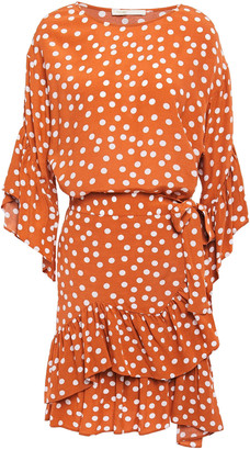 Maje Wrap-effect Ruffled Polka-dot Crepe Mini Dress