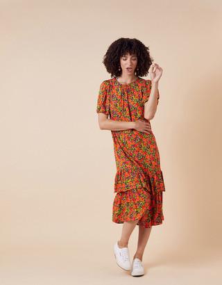 Monsoon Romana Floral Tiered Hem Midi Dress Orange