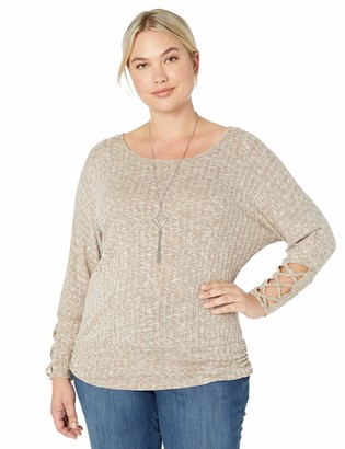 Amy Byer Women's Plus Size 3/4 Sleeve Ribbed Sweater