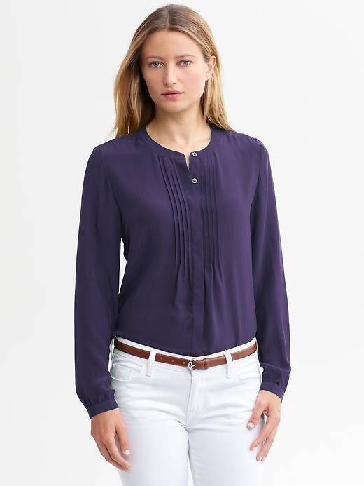 Banana Republic Silk pintuck blouse