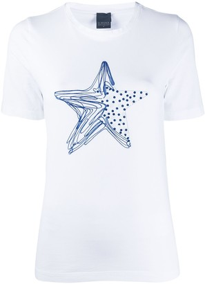 Lorena Antoniazzi star print sequin embroidered T-shirt