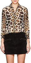 Saint Laurent Women's Leopard-Print Silk Georgette Blouse