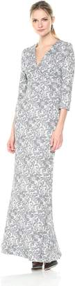JS Collections Women's V Neck Embroidered Knit Gown