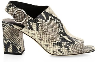 Via Spiga Elma Snakeskin-Embossed Leather Slingback Sandals