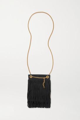 Saint Laurent Grace Fringed Leather-trimmed Suede Shoulder Bag - Black