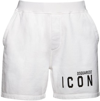 DSQUARED2 Icon Logo Print Cotton Sweat Shorts