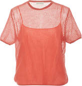 Mansur Gavriel Short-Sleeve Open Knit Sweater