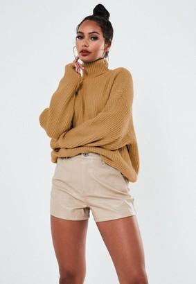 Missguided Premium Camel Boyfriend Turtle Neck Knit Sweater