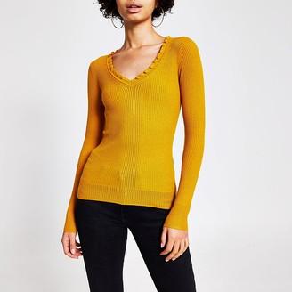 River Island Yellow frill V neck rib knitted jumper